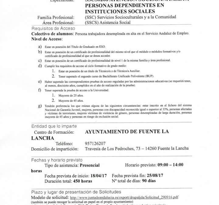 CURSO ATENCION SOCIOSANITARIA