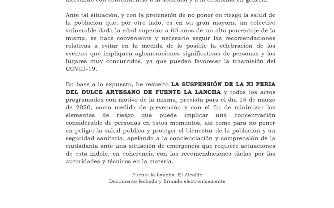 BANDO.SUSPENSIÓN DELA XI FERIA DEL MUNICIPIO DE FUENTE LA LANCHA