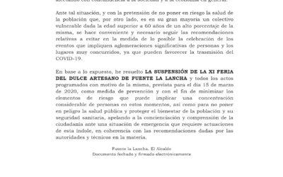 BANDO DE ALCALDÍA.SUSPENSIÓN DE LA XI FERIA DEL DULCE DE FUENTE LA LANCHA.