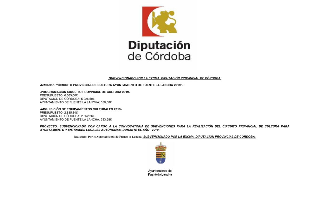 CIRCUITO DE CULTURA 2019.DIPUTACION DE CORDOBA.