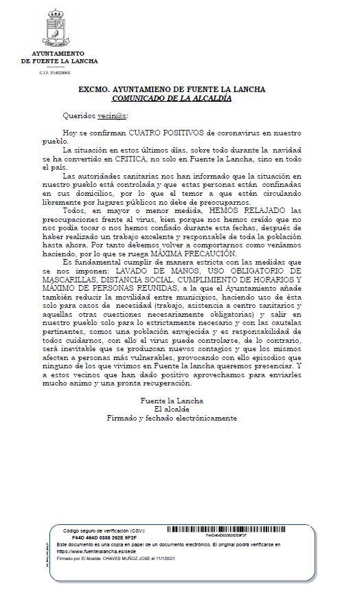 COMUNICADO ALCALDIA COVID-19