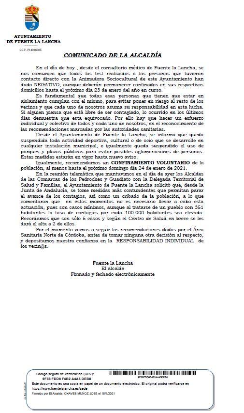 COMUNICADO OFICIAL DE ALCALDÍA CASOS COVID-19