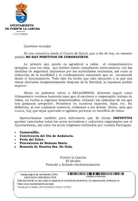 Comunicado Alcaldía Covid